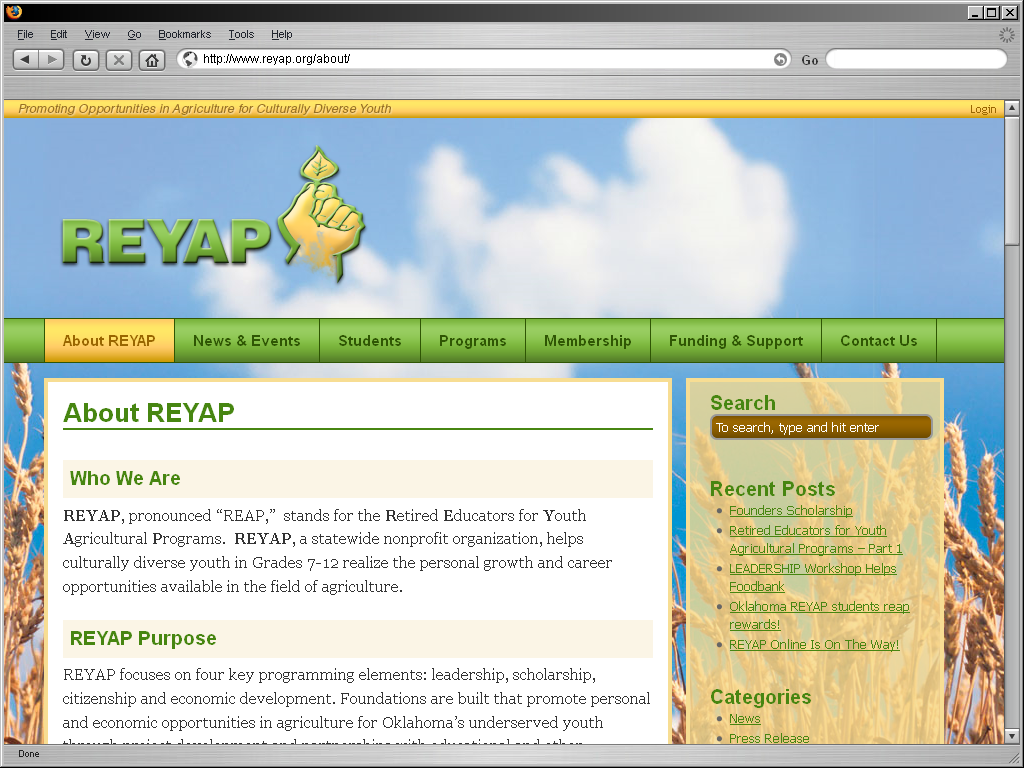 REYAP Website Screenshot - Showing the About page